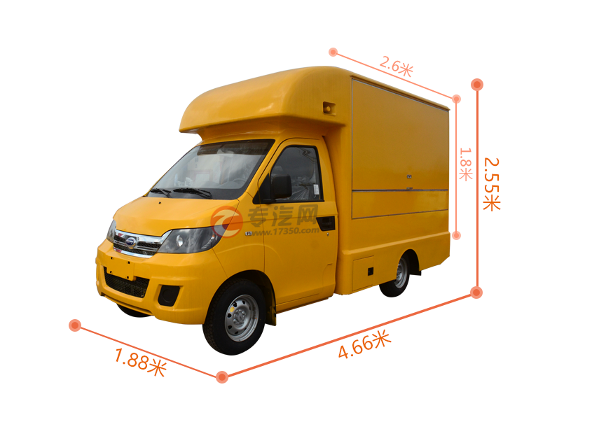 开瑞国五流动售货车尺寸大图