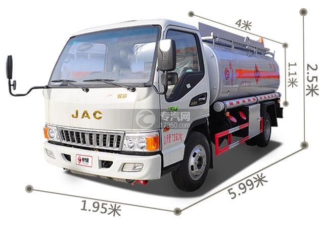 江淮骏铃国五4.2方加油车外观尺寸