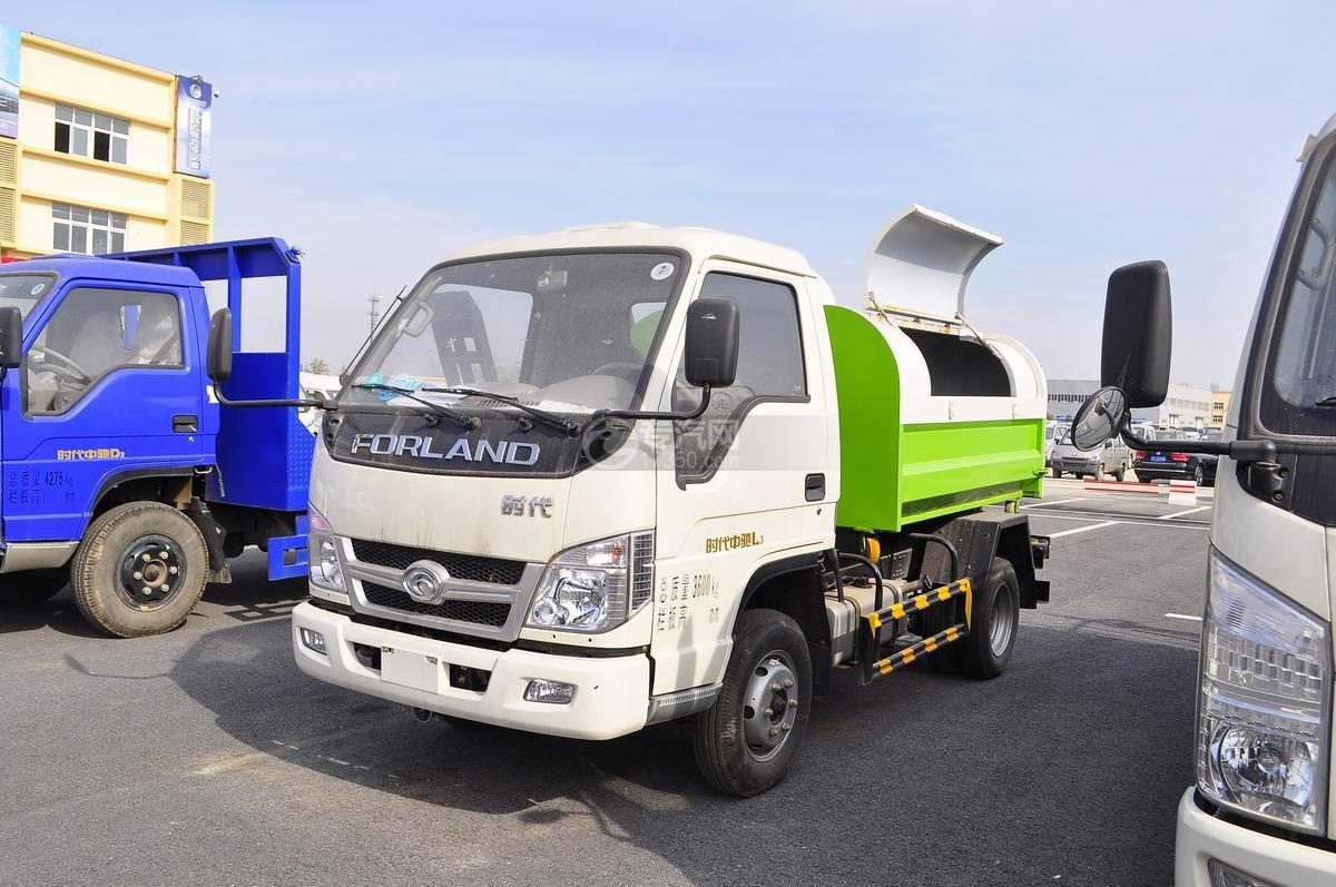 福田时代车厢可卸式垃圾车左侧面45°图