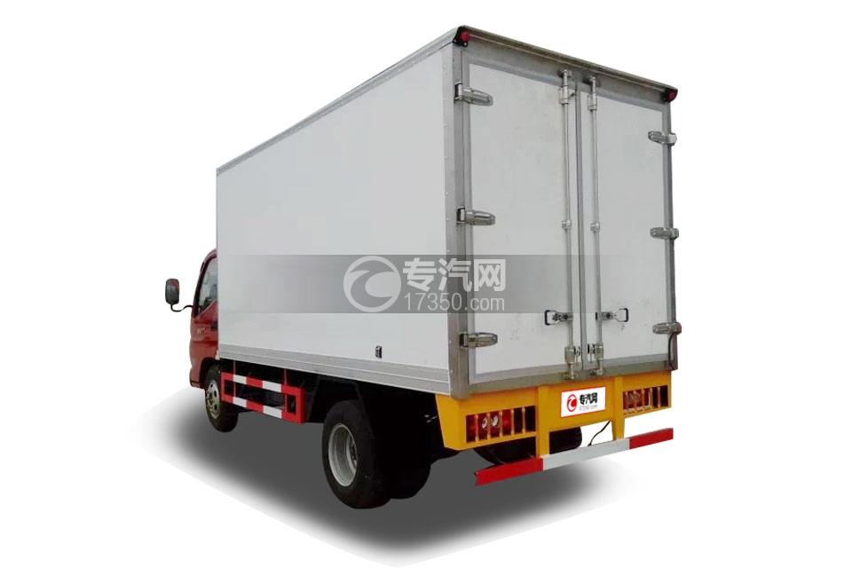 福田奥铃国五4米冷藏车左后图