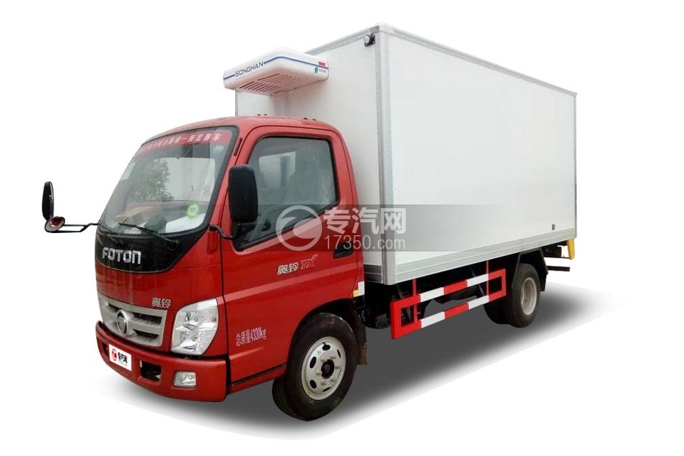 福田奥铃国五4米冷藏车左前图