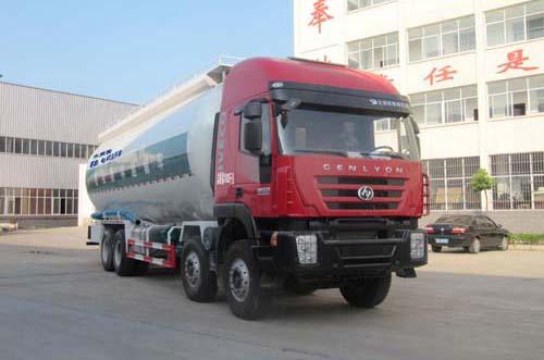 红岩杰狮前四后八国五36.4方粉粒物料运输车