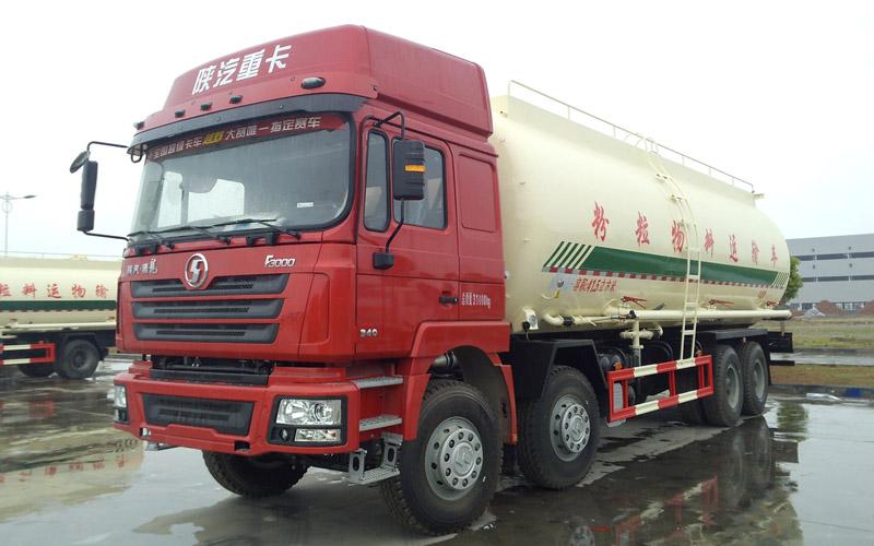 陕汽德龙F3000前四后八国五41方粉粒物料运输车