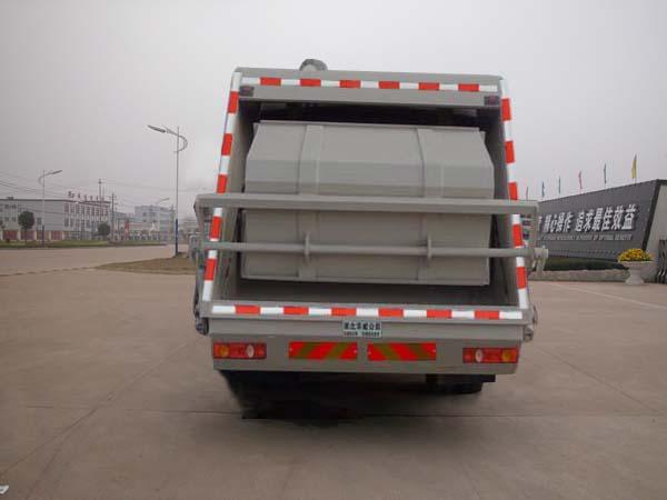 重汽新黄河单桥压缩式垃圾车后面图