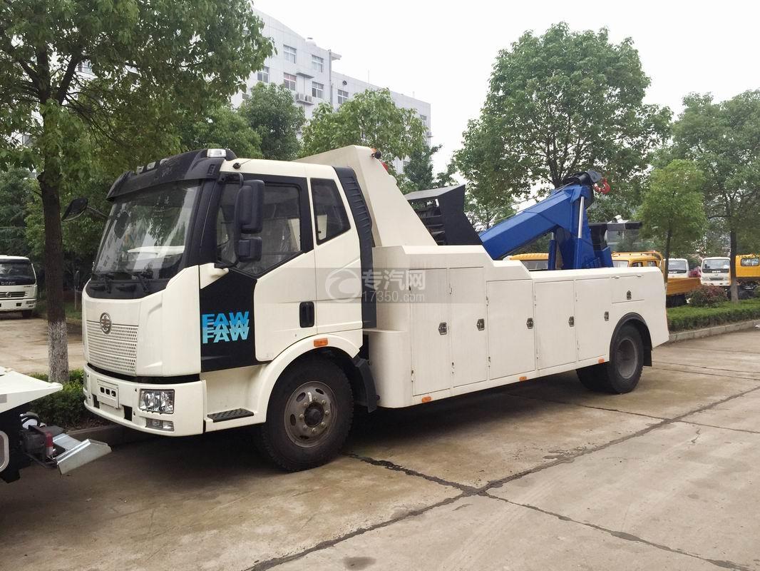解放J6排半拖吊联体清障车(蓝)