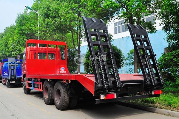 东风神宇御虎VP后双桥平板运输车左后图