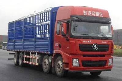 陕汽德龙X3000前四后八国五仓栅式运输车