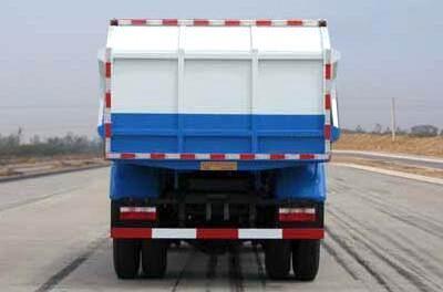 东风多利卡排半自卸式垃圾车后面图
