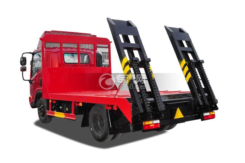 大运单排上蓝牌拖60挖机平板运输车右后图