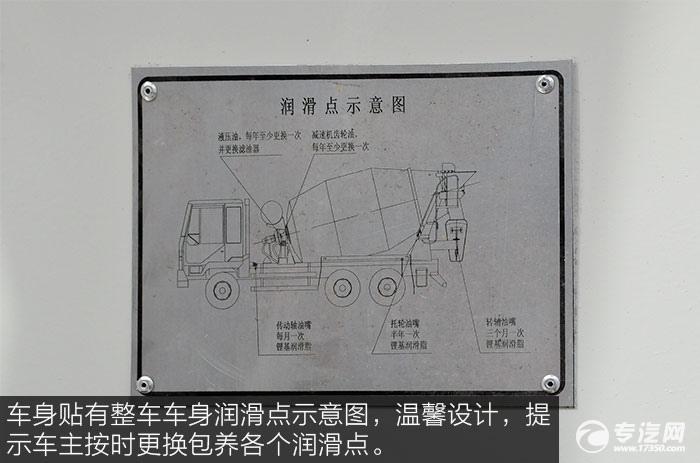 东风神宇御虎3.47方搅拌车润滑点示意牌