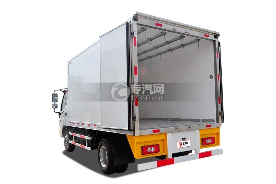 福田欧马可国五冷藏车(肉钩车)左后图