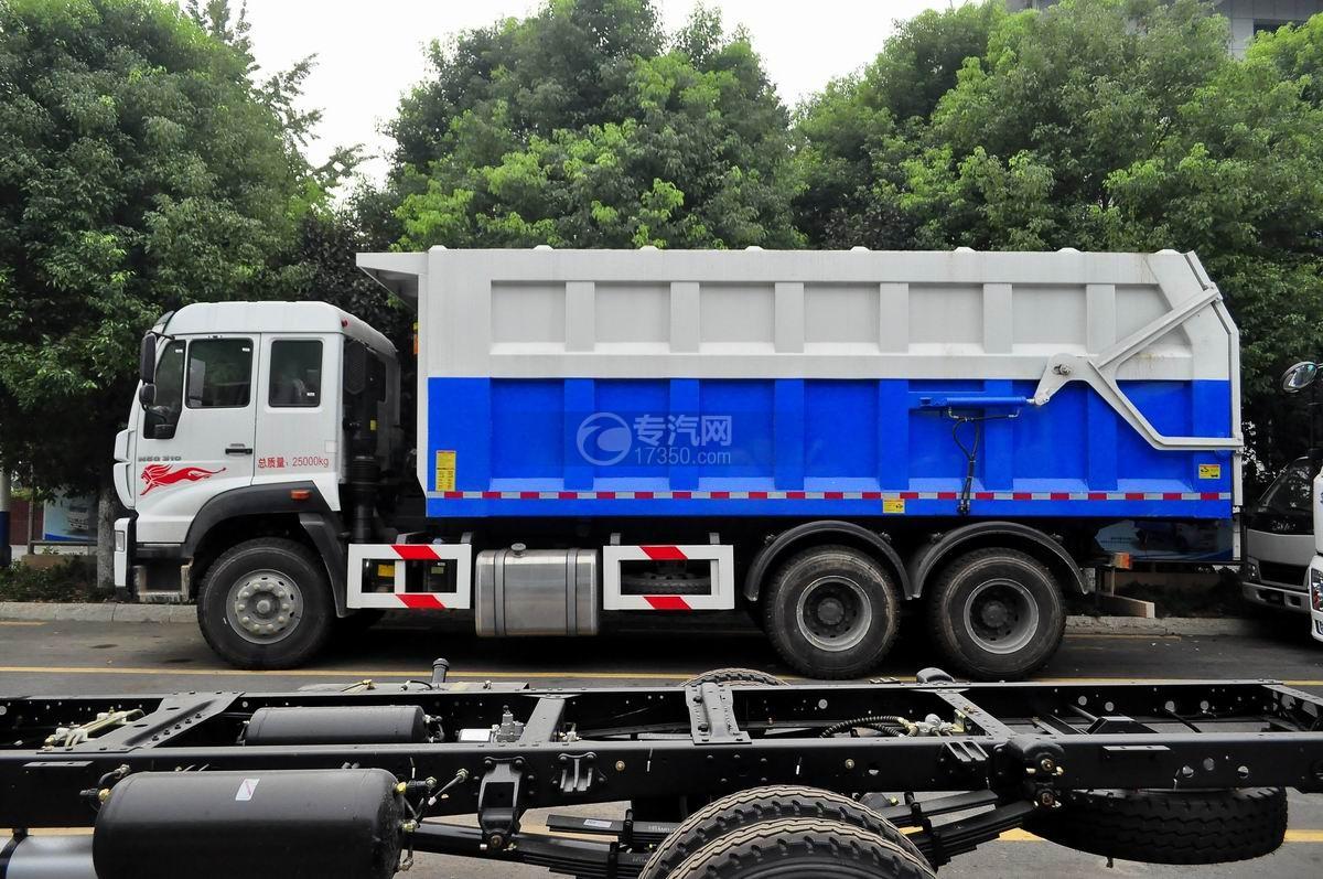 重汽斯太尔M5G后双桥对接垃圾车左侧面图