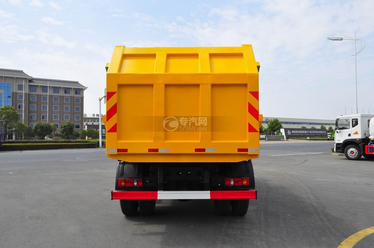 大运风度对接式垃圾车后面图