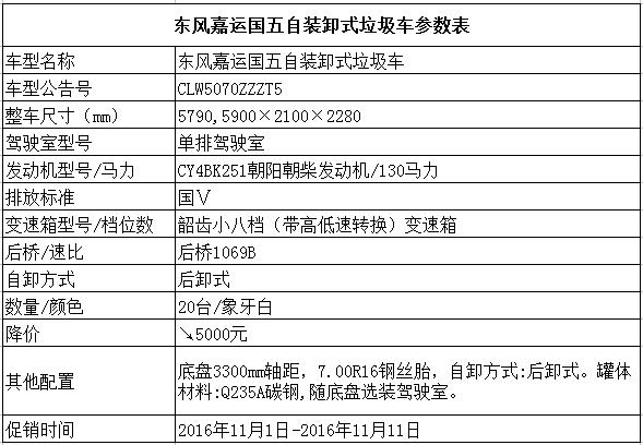 东风嘉运国五自装卸式垃圾车参数表