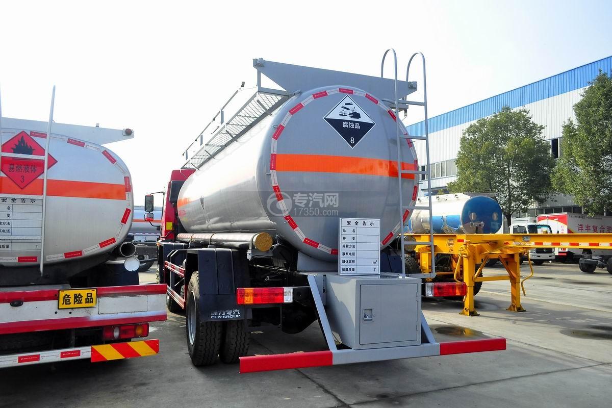 解放龙V小三轴13.9方硝酸运输车左后图
