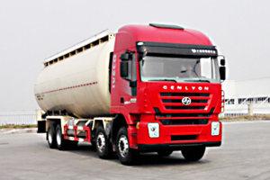 红岩杰狮前四后八国五35.7方低密度粉粒物料运输车