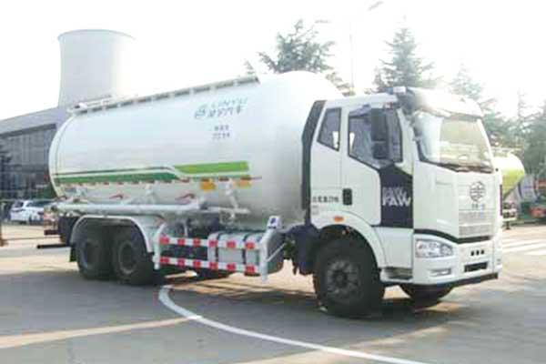 解放J6M后双桥国五27方粉粒物料运输车