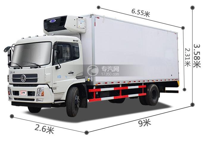 东风天锦5.8/6.1米国五冷藏车尺寸图