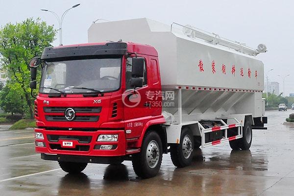 7陕汽德龙小三轴散装饲料运输车