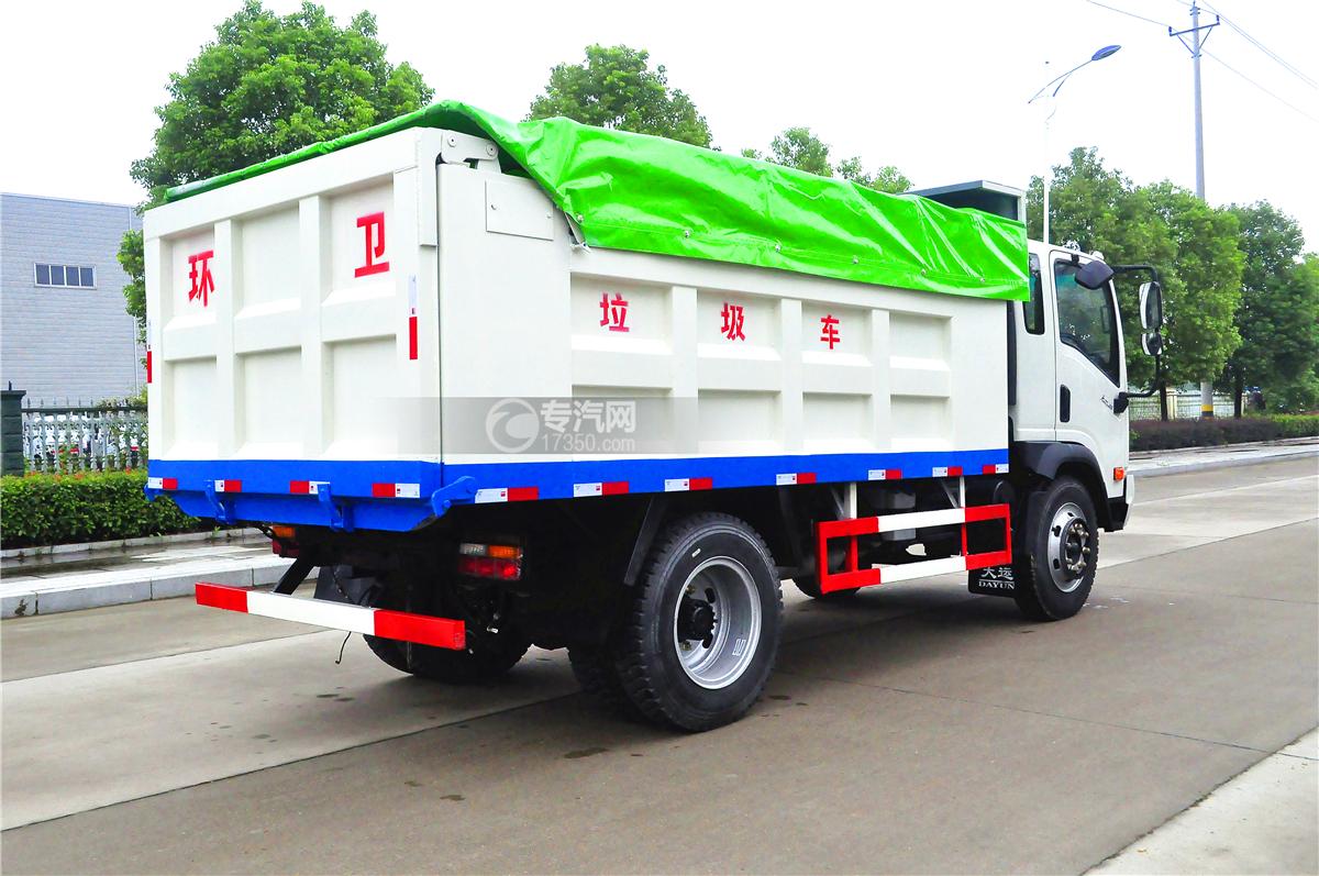 大运奥普力排半带斗篷自卸式垃圾车左后45