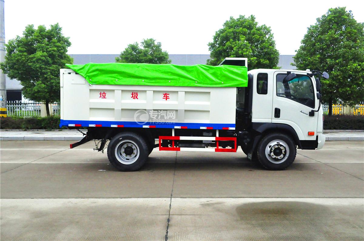 大运奥普力排半带斗篷自卸式垃圾车侧面