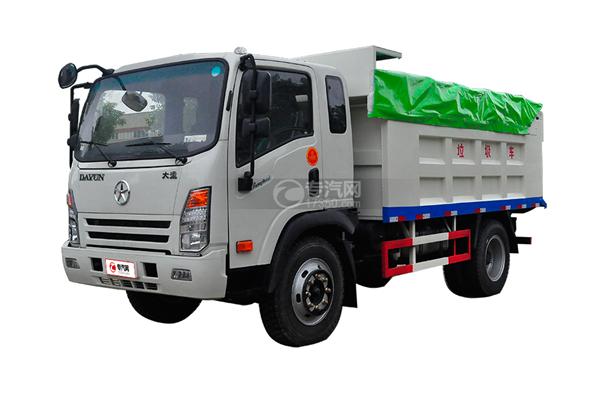 大运奥普力带斗篷式自卸式垃圾车