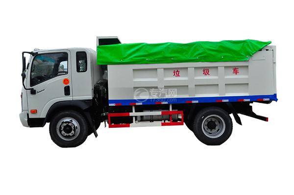 大运奥普力带斗篷式自卸式垃圾车侧面