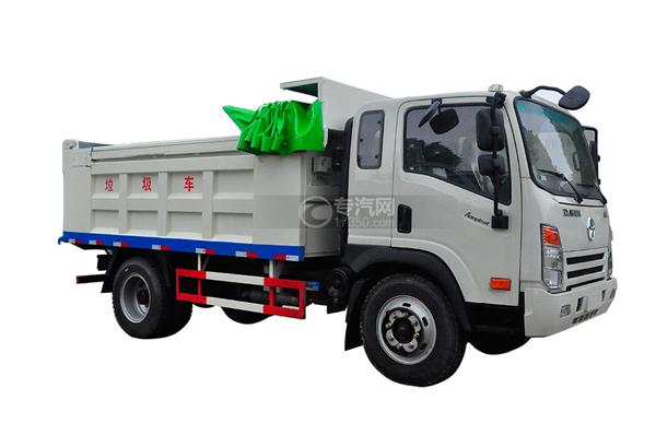 大运奥普力带斗篷式自卸式垃圾车左侧