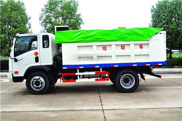 8大运奥普力带斗篷式自卸式垃圾车