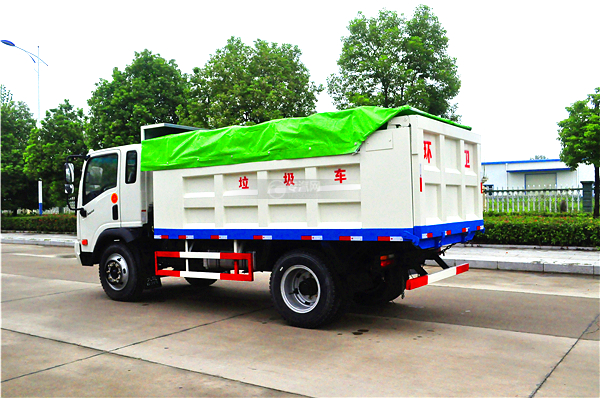 9大运奥普力带斗篷式自卸式垃圾车