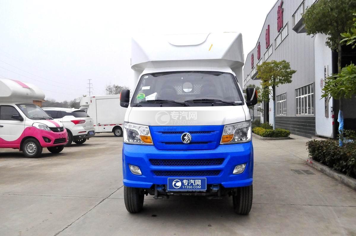 重汽王牌W1餐車售貨車(藍白)正面圖
