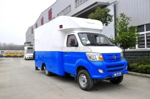 重汽王牌W1餐車售貨車(藍白)圖片