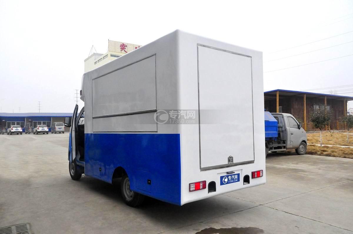 重汽王牌W1餐車售貨車(藍白)左后45°圖