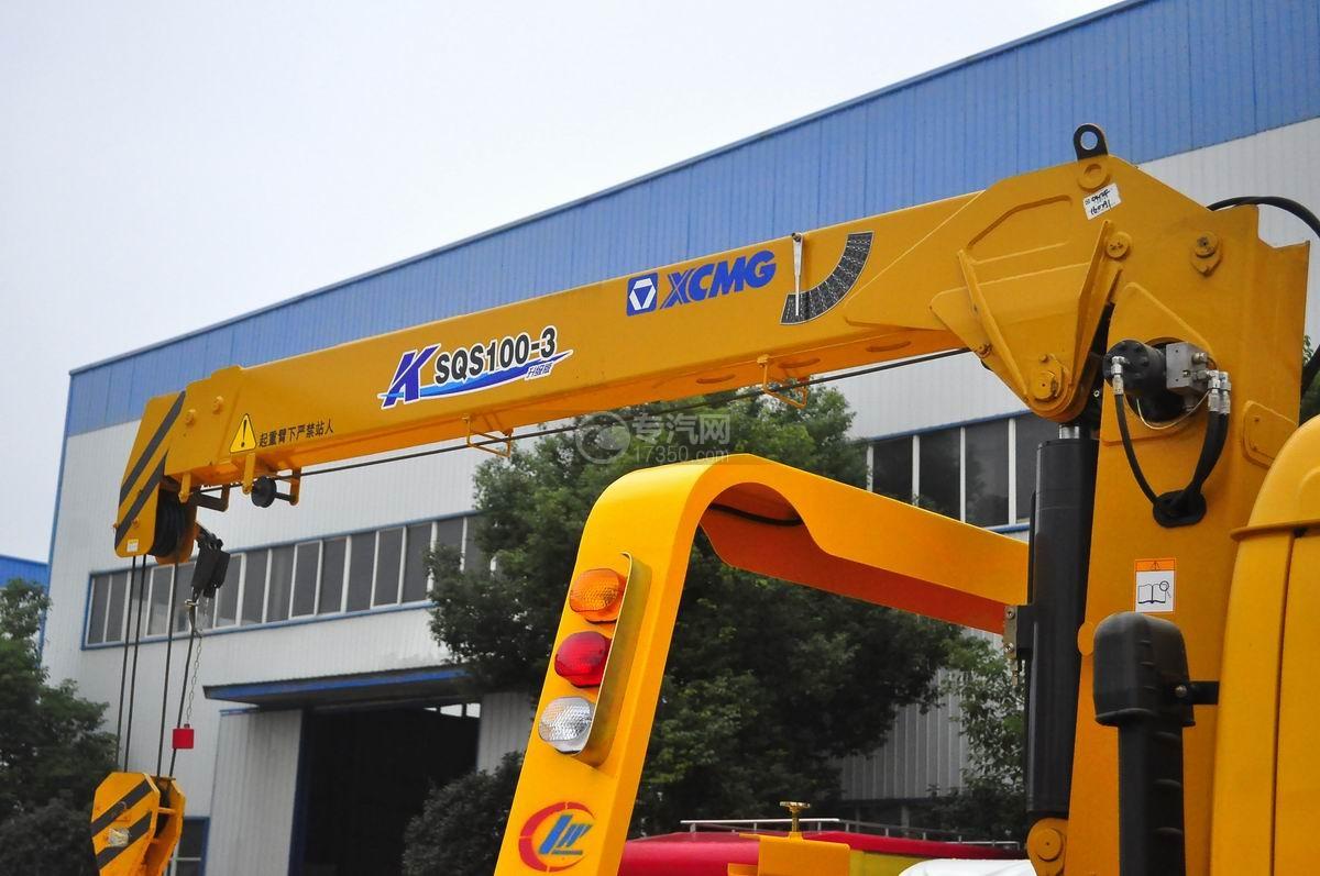 东风多利卡一拖二平板带吊清障车(黄色)吊臂
