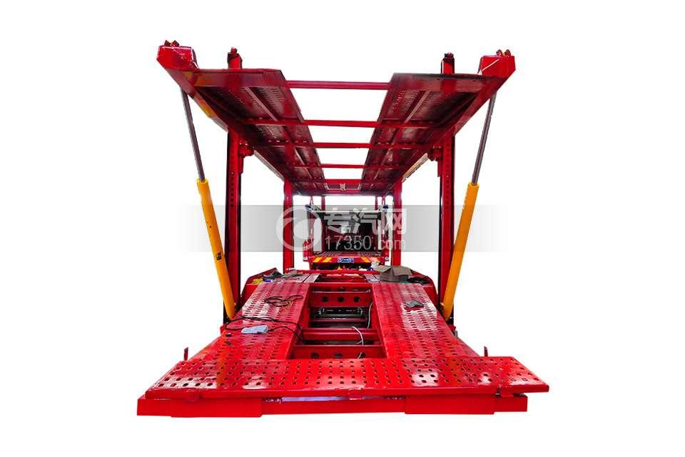 解放悍V小三轴带挂轿运车后方位图