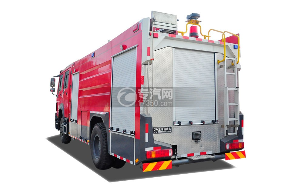 重汽豪沃单桥国五泡沫消防车侧后方图