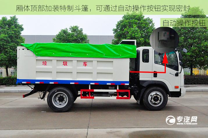 争做环保先锋大运奥普力排半自卸式垃圾车评测自动控制.jpg