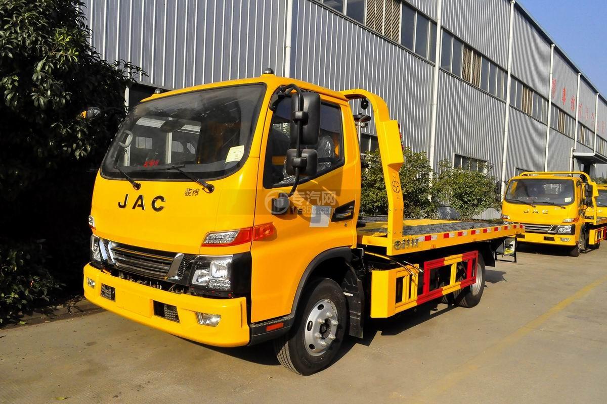 江淮骏铃V6一拖二平板清障车(黄色)图片