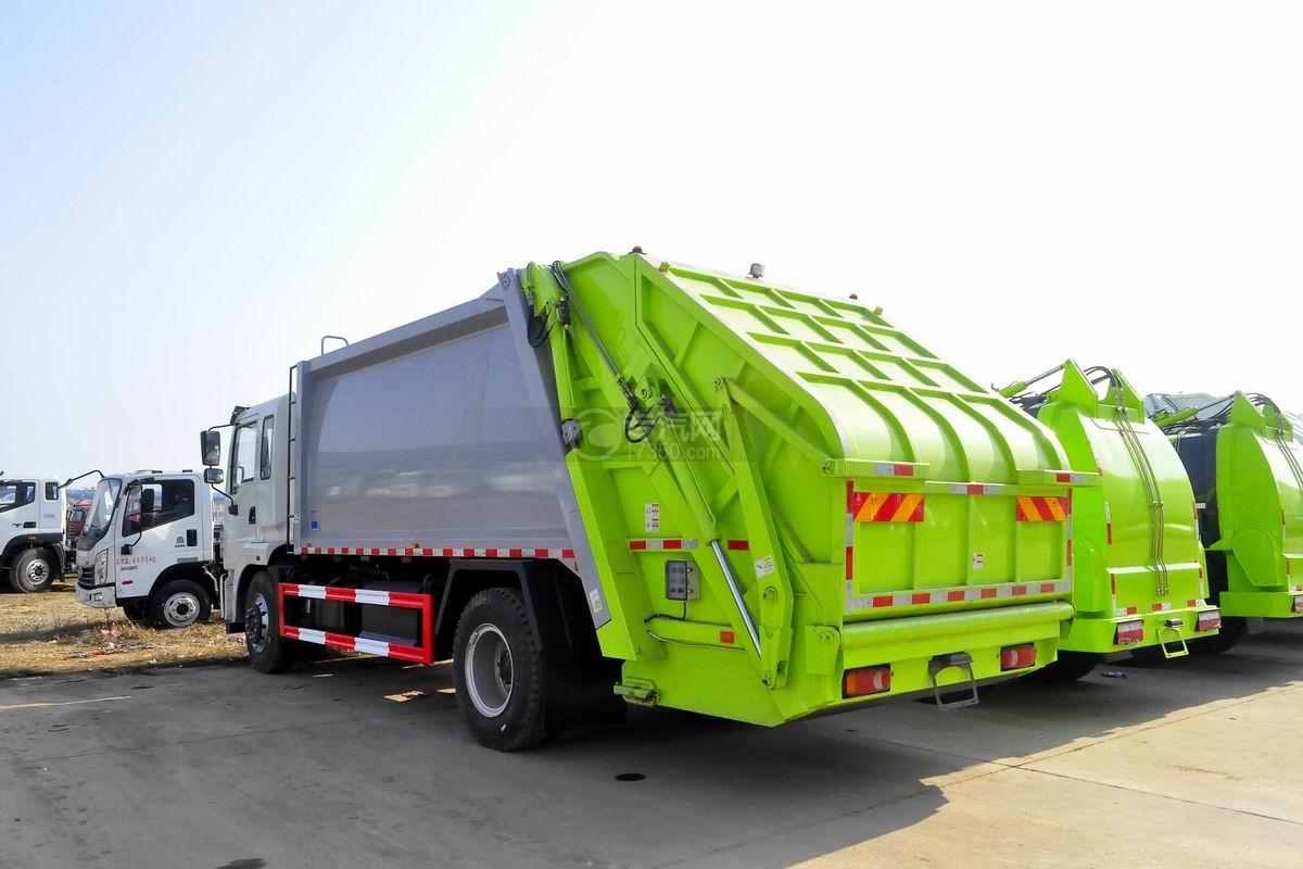 东风锦程12至14方压缩式垃圾车后侧方图