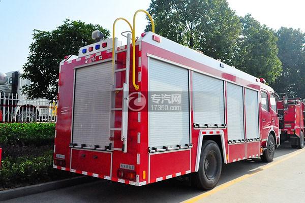 东风天龙单桥泡沫消防车侧后方图