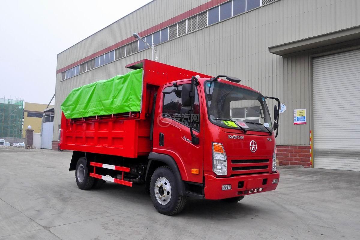 大运奥普力单排带篷布自卸式垃圾车右前45度图