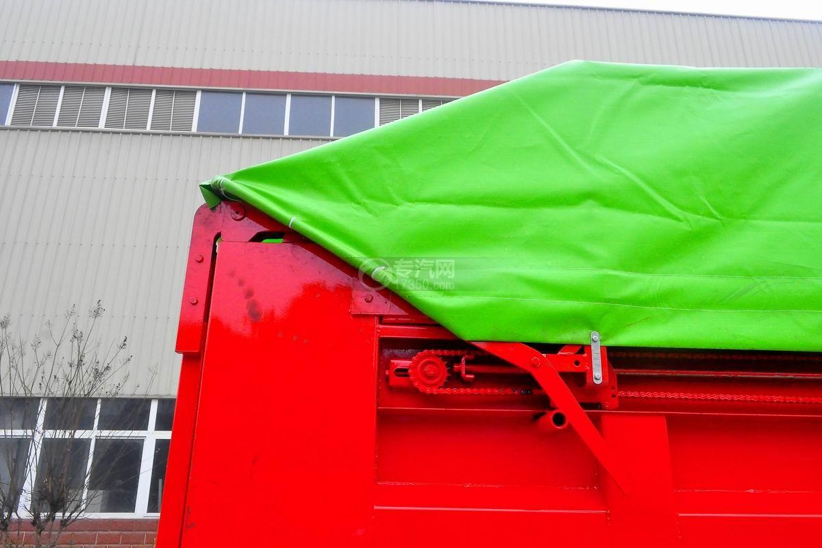 大运奥普力单排带篷布自卸式垃圾车上装细节