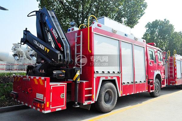 重汽豪沃单桥抢险救援消防车侧后方图