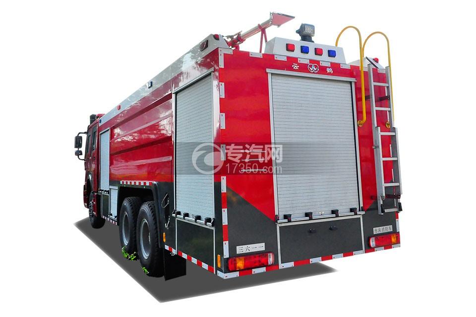 重汽豪沃后双桥泡沫消防车右侧后方图