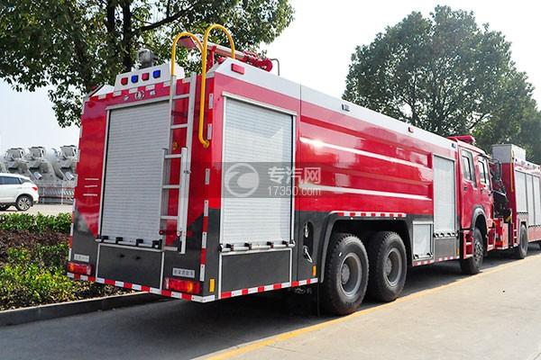 重汽豪沃后双桥泡沫消防车左侧后方图