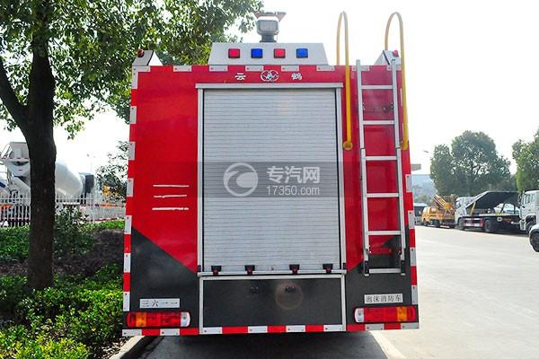 重汽豪沃后双桥泡沫消防车后方图