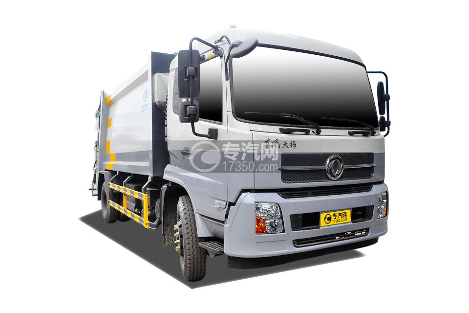 东风天锦压缩式垃圾车(挂240升塑料桶)