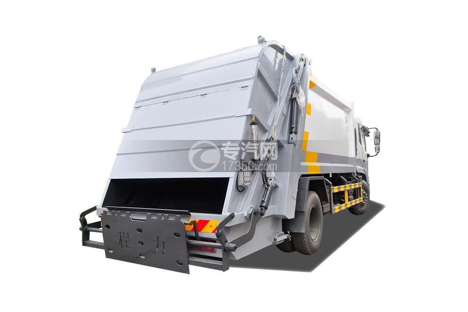 东风天锦压缩式垃圾车侧后方图