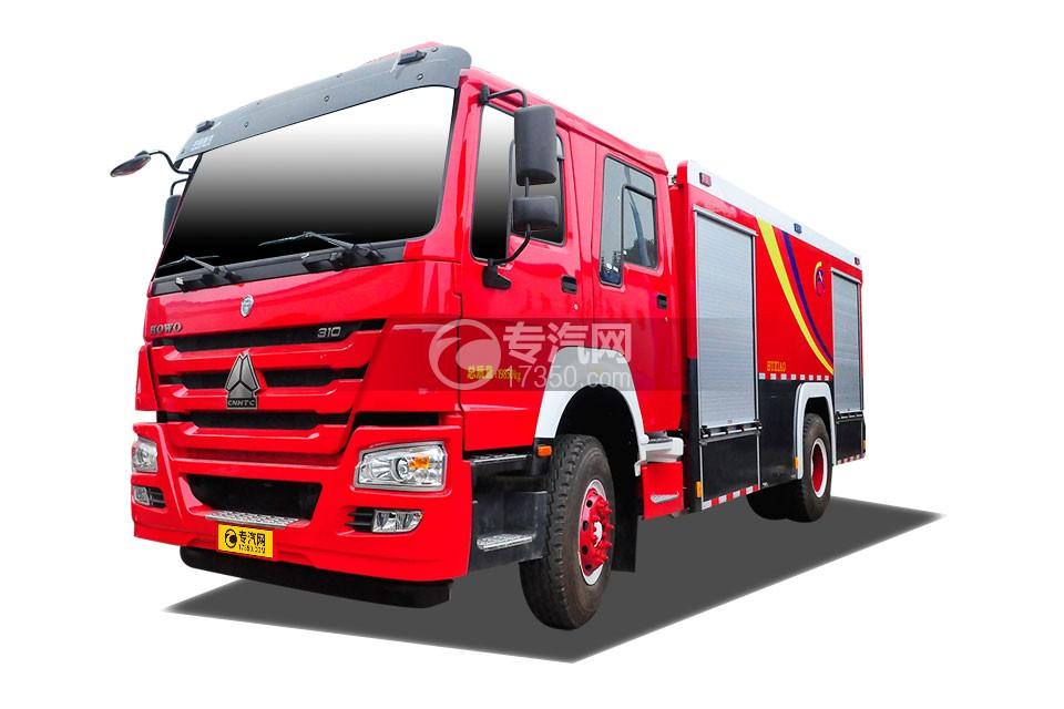重汽豪沃单桥干粉泡沫联用消防车左侧图