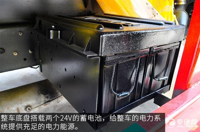 东风福瑞卡3吨徐工直臂随车吊评测之底盘蓄电池